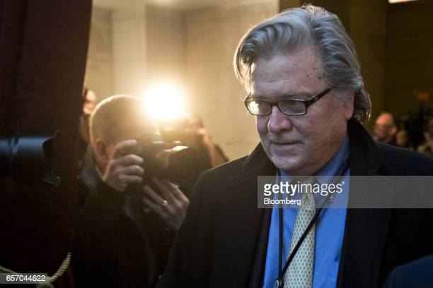 Steve Bannon chief strategist for US President Donald Trump walks to a House Republican meeting at the US Capitol in Washington DC US on Thursday...