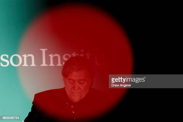 Steve Bannon former White House chief strategist and chairman of Breitbart News pauses while speaking during a discussion on countering violent...