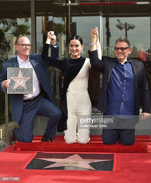 Steve Barnett Chairman and CEO of Capitol Music Group recording artist Katy Perry and Sir Lucian Grainge Chairman chief executive officer of...