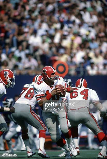 Steve Bartkowski of the Atlanta Falcons drops back to pass against the New York Giants during an NFL football game September 12 1982 at Giants...