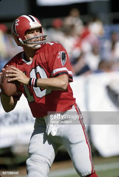 Steve Bartkowski of the Atlanta Falcons drops back to pass during an NFL football game circa 1980 at AtlantaFulton County Stadium in Atlanta Georgia...