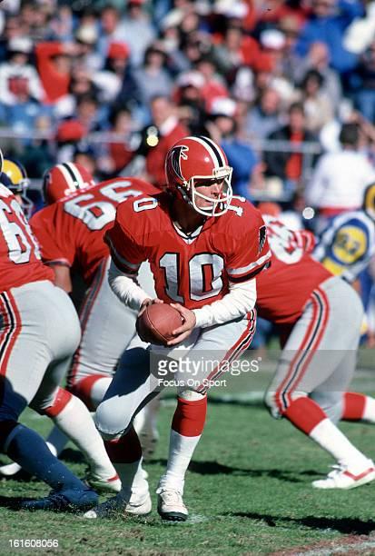 Steve Bartkowski of the Atlanta Falcons in action against the Los Angeles Rams during an NFL football game circa 1984 at AtlantaFulton County Stadium...