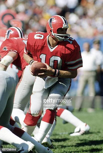 Steve Bartkowski of the Atlanta Falcons in action during an NFL football game circa 1980 at AtlantaFulton County Stadium in Atlanta Georgia...