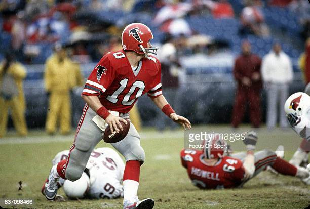 Steve Bartkowski of the Atlanta Falcons looks to pass against the St Louis Cardinals during an NFL football game November 28 1982 at AtlantaFulton...
