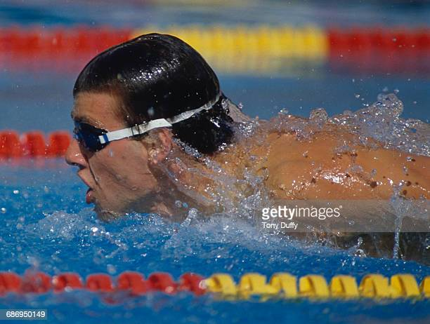 Steve Bentley of the United States swims during the Men's 200 metres individual medley event at the V FINA World Swimming Championships on 23 August...
