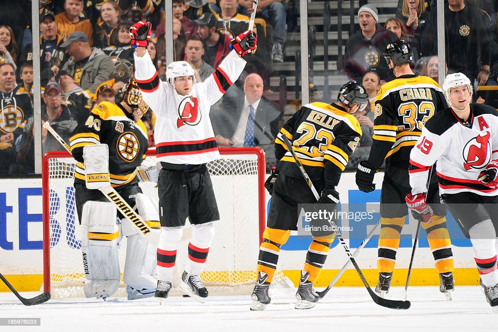 <a gi-track='captionPersonalityLinkClicked' href=/galleries/search?phrase=Steve+Bernier&family=editorial&specificpeople=557040 ng-click='$event.stopPropagation()'>Steve Bernier</a> #18 of the New Jersey Devils celebrates a goal against the Boston Bruins at the TD Garden on October 26, 2013 in Boston, Massachusetts.