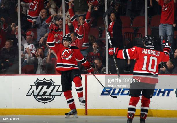 Steve Bernier of the New Jersey Devils scores at 202 of the third period against the Florida Panthers in Game Four of the Eastern Conference...