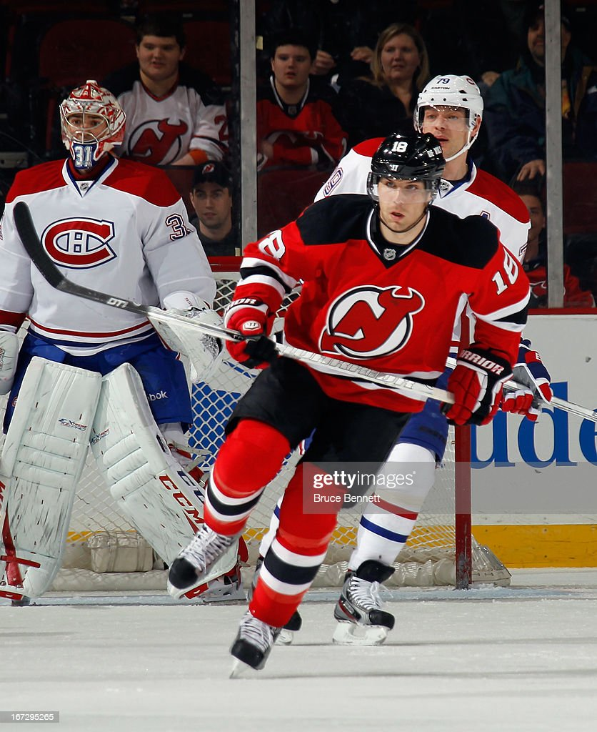 <a gi-track='captionPersonalityLinkClicked' href=/galleries/search?phrase=Steve+Bernier&family=editorial&specificpeople=557040 ng-click='$event.stopPropagation()'>Steve Bernier</a> #18 of the New Jersey Devils skates against the Montreal Canadiens at the Prudential Center on April 23, 2013 in Newark, New Jersey. The Devils defeated the Canadiens 3-2.