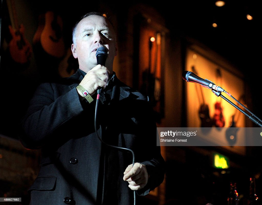 Steve Berry of Real XS introduces The Feeling performing at the 15th birtday party of Hard Rock Cafe on September 17, 2015 in Manchester, England.