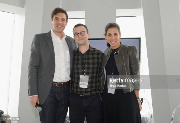 Steve Bertoni Actor/Filmmaker and Founder of hitRECord Joseph GordonLevitt and CEO of SoulCycle Melanie Whelan attend the Kairos Society Global...