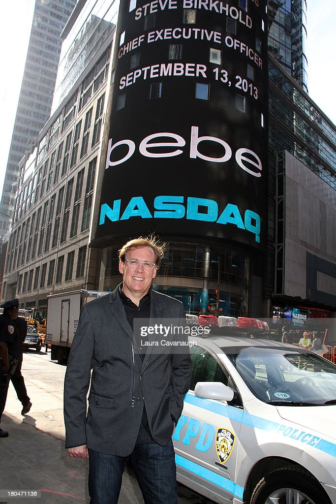 Steve Birkhold, CEO of Bebe Stores, Inc. rings the opening bell at NASDAQ Market Site on September 13, 2013 in New York City.