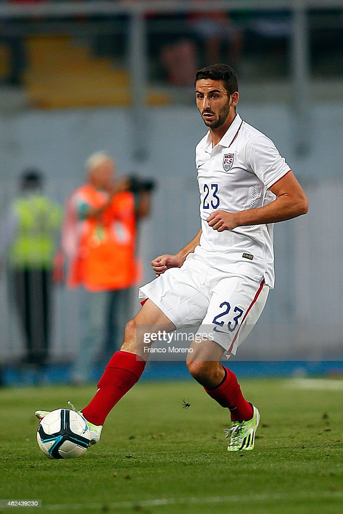 Steve Birnbaum of USA drives the ball during an international friendly match between Chile and USA at El Teniente Stadium on January 28 2015 in...