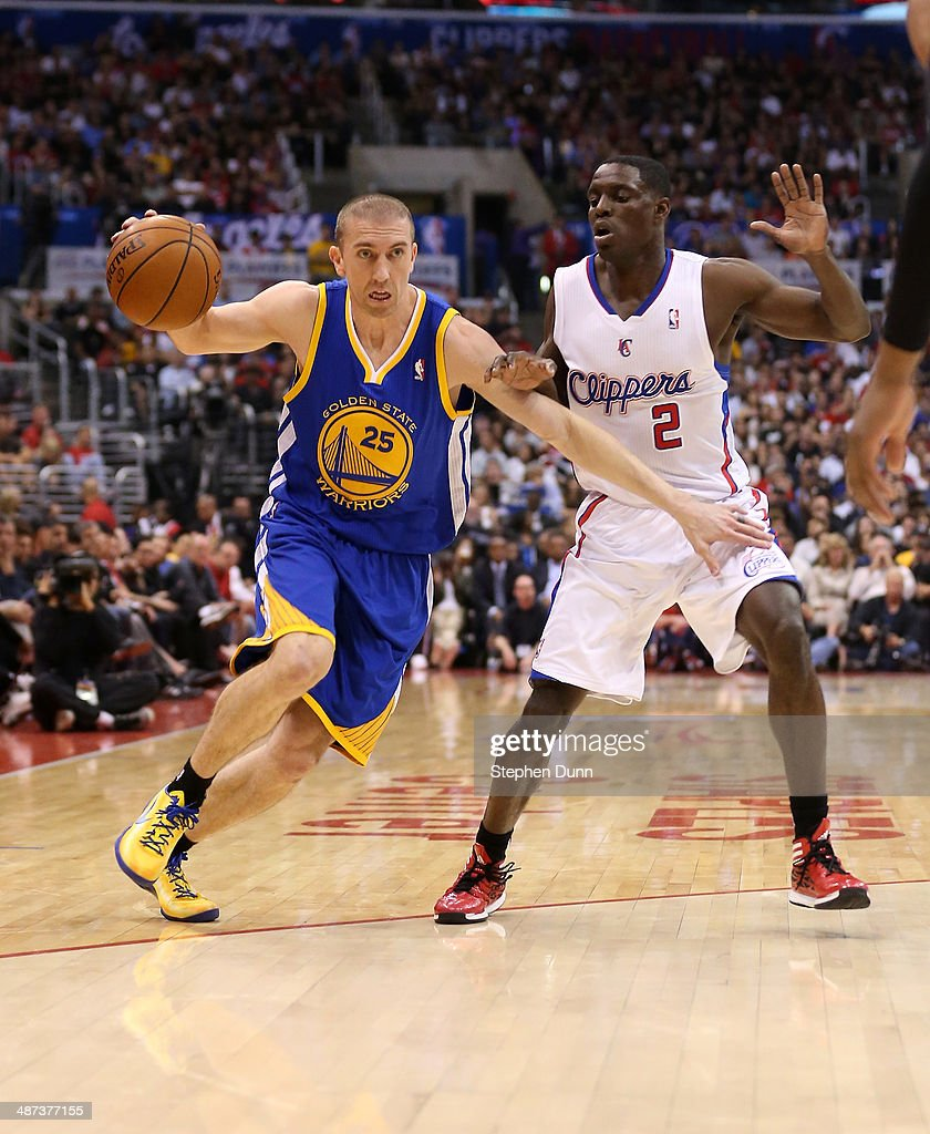 Steve Blake #25 of the Golden State Warriors drives against Darren Collison #2 of the Los Angeles Clippers in Game Five of the Western Conference Quarterfinals during the 2014 NBA Playoffs at Staples Center on April 29, 2014 in Los Angeles, California.