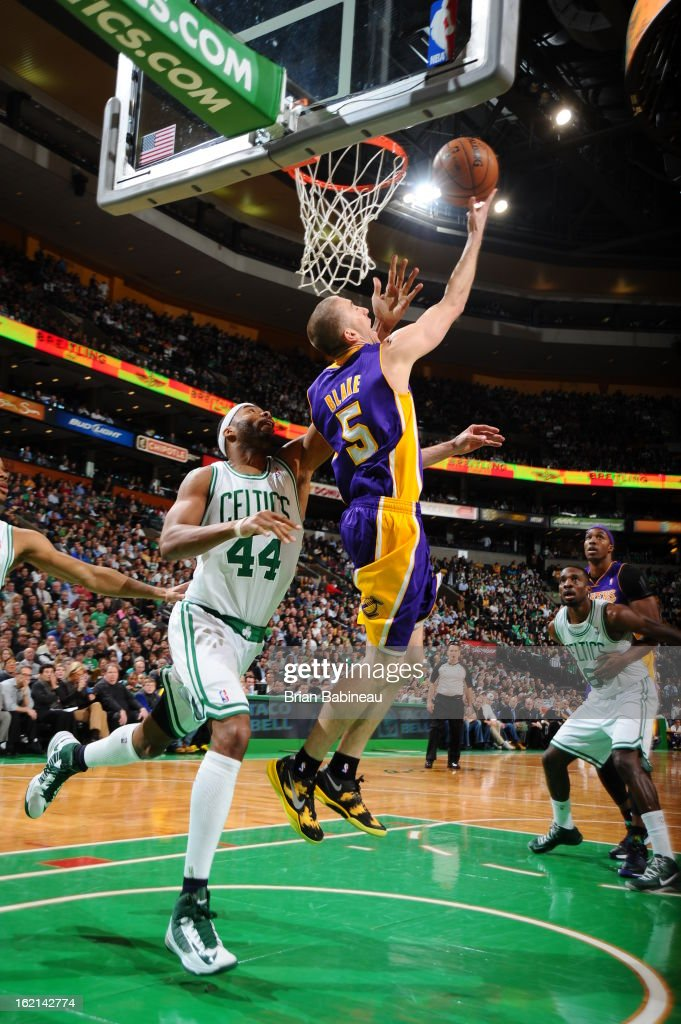 <a gi-track='captionPersonalityLinkClicked' href=/galleries/search?phrase=Steve+Blake+-+Basketball+Player&family=editorial&specificpeople=204474 ng-click='$event.stopPropagation()'>Steve Blake</a> #5 of the Los Angeles Lakers drives to the basket against the Boston Celtics on February 7, 2013 at the TD Garden in Boston, Massachusetts.
