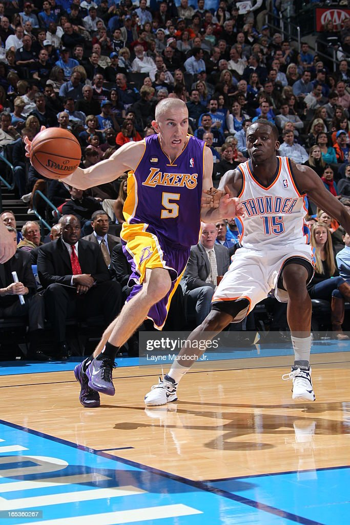 <a gi-track='captionPersonalityLinkClicked' href=/galleries/search?phrase=Steve+Blake+-+Basketball+Player&family=editorial&specificpeople=204474 ng-click='$event.stopPropagation()'>Steve Blake</a> #5 of the Los Angeles Lakers drives to the basket against the Oklahoma City Thunder on March 05, 2013 at the Chesapeake Energy Arena in Oklahoma City, Oklahoma.