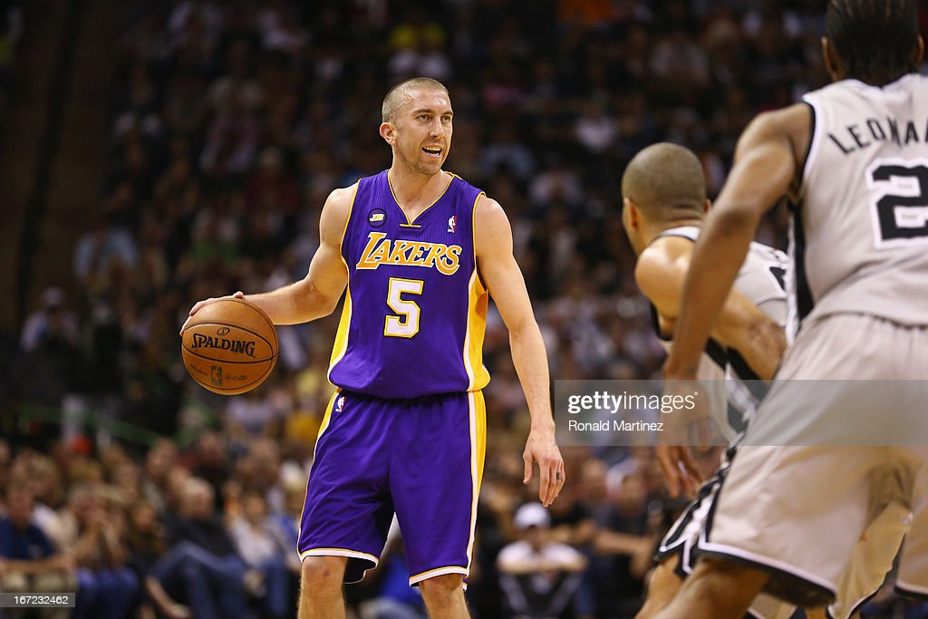 Steve Blake #5 of the Los Angeles Lakers during Game One of the Western Conference Quarterfinals of the 2013 NBA Playoffs at at AT&T Center on April 21, 2013 in San Antonio, Texas.