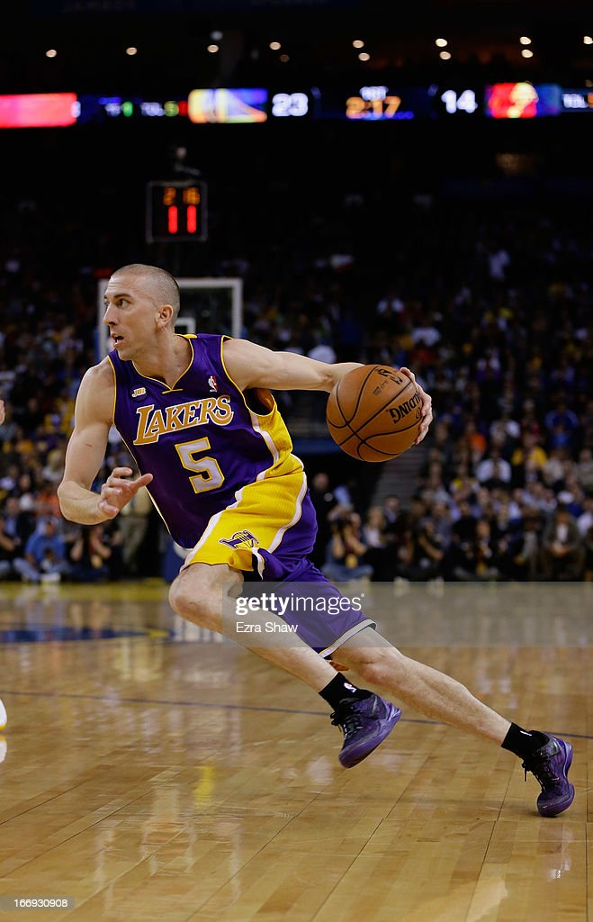 <a gi-track='captionPersonalityLinkClicked' href=/galleries/search?phrase=Steve+Blake+-+Basketball+Player&family=editorial&specificpeople=204474 ng-click='$event.stopPropagation()'>Steve Blake</a> #5 of the Los Angeles Lakers in action against the Golden State Warriors at Oracle Arena on March 25, 2013 in Oakland, California.
