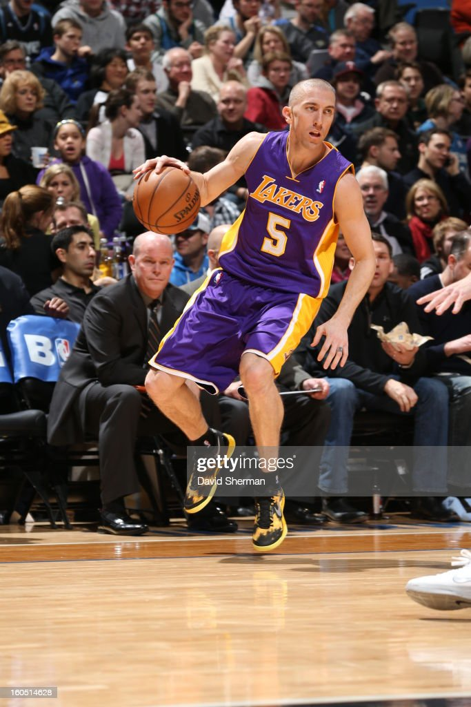 <a gi-track='captionPersonalityLinkClicked' href=/galleries/search?phrase=Steve+Blake+-+Basketball+Player&family=editorial&specificpeople=204474 ng-click='$event.stopPropagation()'>Steve Blake</a> #5 of the Los Angeles Lakers looks cross court against the Minnesota Timberwolves during the game on February 1, 2013 at Target Center in Minneapolis, Minnesota.
