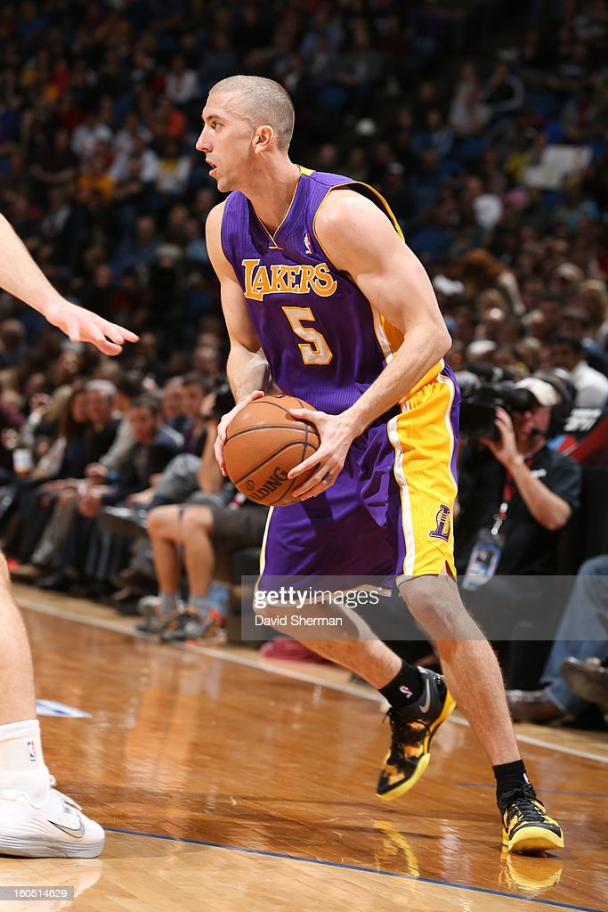 <a gi-track='captionPersonalityLinkClicked' href=/galleries/search?phrase=Steve+Blake+-+Basketball+Player&family=editorial&specificpeople=204474 ng-click='$event.stopPropagation()'>Steve Blake</a> #5 of the Los Angeles Lakers passes the ball against the Minnesota Timberwolves during the game on February 1, 2013 at Target Center in Minneapolis, Minnesota.