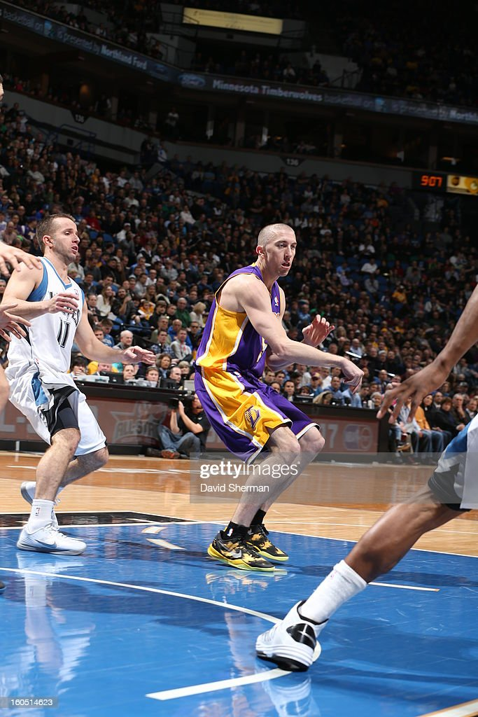 <a gi-track='captionPersonalityLinkClicked' href=/galleries/search?phrase=Steve+Blake+-+Basketball+Player&family=editorial&specificpeople=204474 ng-click='$event.stopPropagation()'>Steve Blake</a> #5 of the Los Angeles Lakers passes the ball to a teammate against the Minnesota Timberwolves during the game on February 1, 2013 at Target Center in Minneapolis, Minnesota.