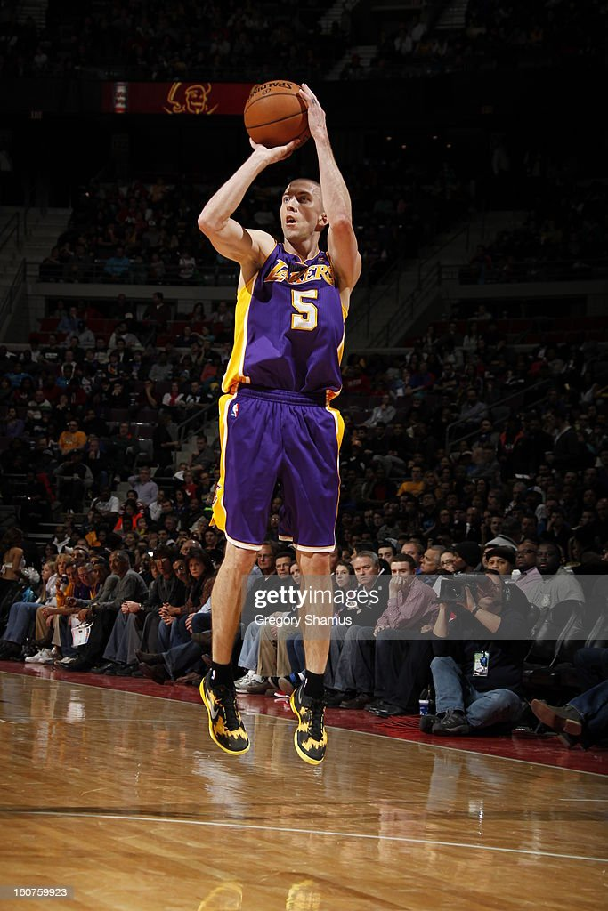 <a gi-track='captionPersonalityLinkClicked' href=/galleries/search?phrase=Steve+Blake+-+Basketball+Player&family=editorial&specificpeople=204474 ng-click='$event.stopPropagation()'>Steve Blake</a> #5 of the Los Angeles Lakers shoots against the Detroit Pistons on February 3, 2013 at The Palace of Auburn Hills in Auburn Hills, Michigan.