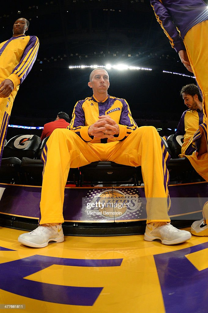 <a gi-track='captionPersonalityLinkClicked' href=/galleries/search?phrase=Steve+Blake+-+Basketball+Player&family=editorial&specificpeople=204474 ng-click='$event.stopPropagation()'>Steve Blake</a> #5 of the Los Angeles Lakers sits on the bench before a game against the New Orleans Pelicans at Staples Center on November 12, 2013 in Los Angeles, California.