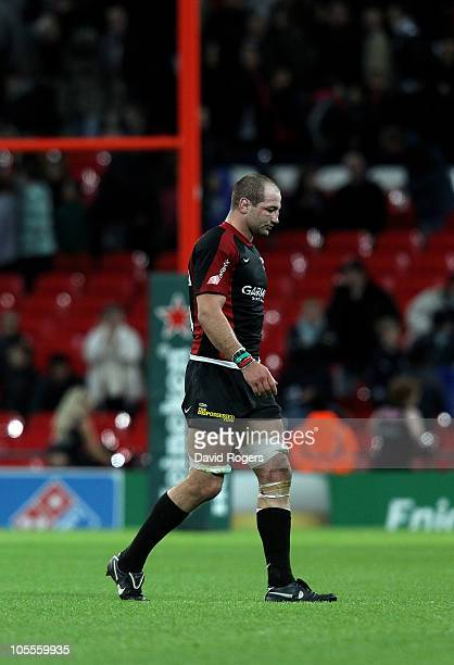 Steve Borthhwick the Saracens captain looks dejected after his team defeat during the Heineken Cup match between Saracens and Leinster at Wembley...