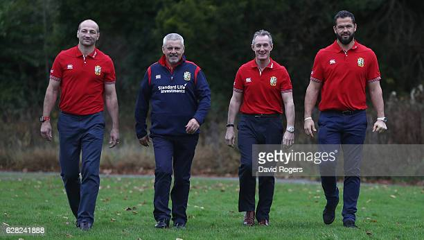 Steve Borthwick forwards coach Warren Gatland head coach Rob Howley backs coach and Andy Farrell the defence coach pose during the 2017 British Irish...