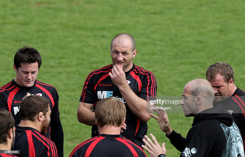 Steve Borthwick (C) looks on during the Saracens training session on May 25, 2010 in St Albans, England.