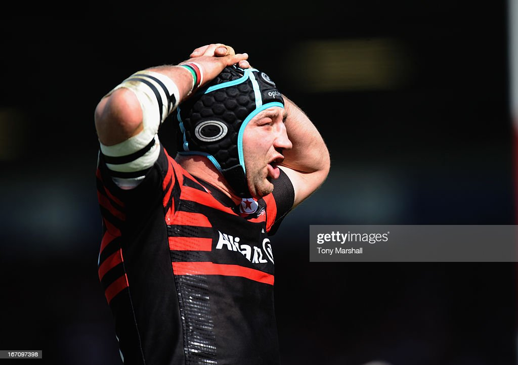 Steve Borthwick of Saracens during the Aviva Premiership match between Gloucester and Saracens at Kingsholm Stadium on April 20, 2013 in Gloucester, England.
