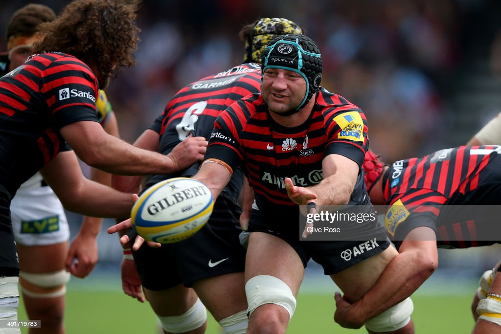 Steve Borthwick of Saracens in action during the Aviva Premiership Semi Final match between Saracens and Harlequins at Allianz Park on May 17, 2014 in Barnet, England.