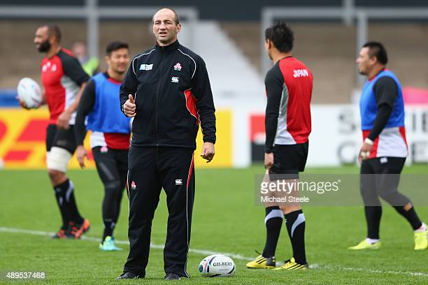 Steve Borthwick the Forwards Coach of Japan gives the thumbs up during the Captain's Run ahead of the Japan versus Scotland Pool B match at Kingsholm...