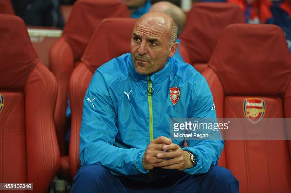 Steve Bould assistant manager of Arsenal looks on prior to the UEFA Champions League Group D match between Arsenal FC and RSC Anderlecht at Emirates...