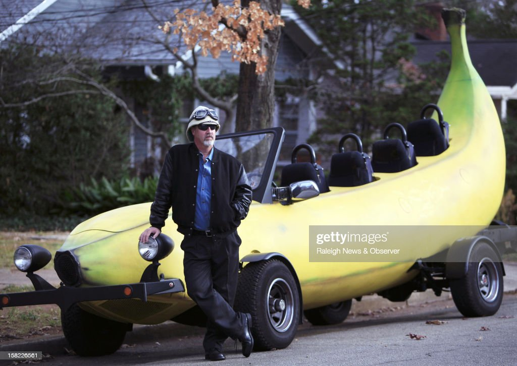 Steve Braithwaite poses in front of his 23-foot banana-shaped vehicle in Raleigh, North Carolina, Tuesday, December 11, 2012. Braithwaite and his brother are raising funds so they can drive around the world with the Big Banana Car to raise awareness of DVT, a blood clot that forms inside of the body. Their mother died due to DVT. For more information, visit www.bigbananacar.com.