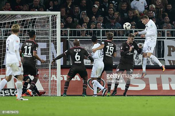 Steve Breitkreutz of Aue scores their first goal with a header during the Second Bundesliga match between FC St Pauli and FC Erzgebirge Aue at...