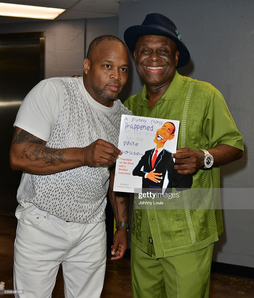 Steve Brown and Michael Colyar backstage at the 9th Annual Memorial Weekend Comedy Festival at James L Knight Center on May 29 2016 in Miami Florida