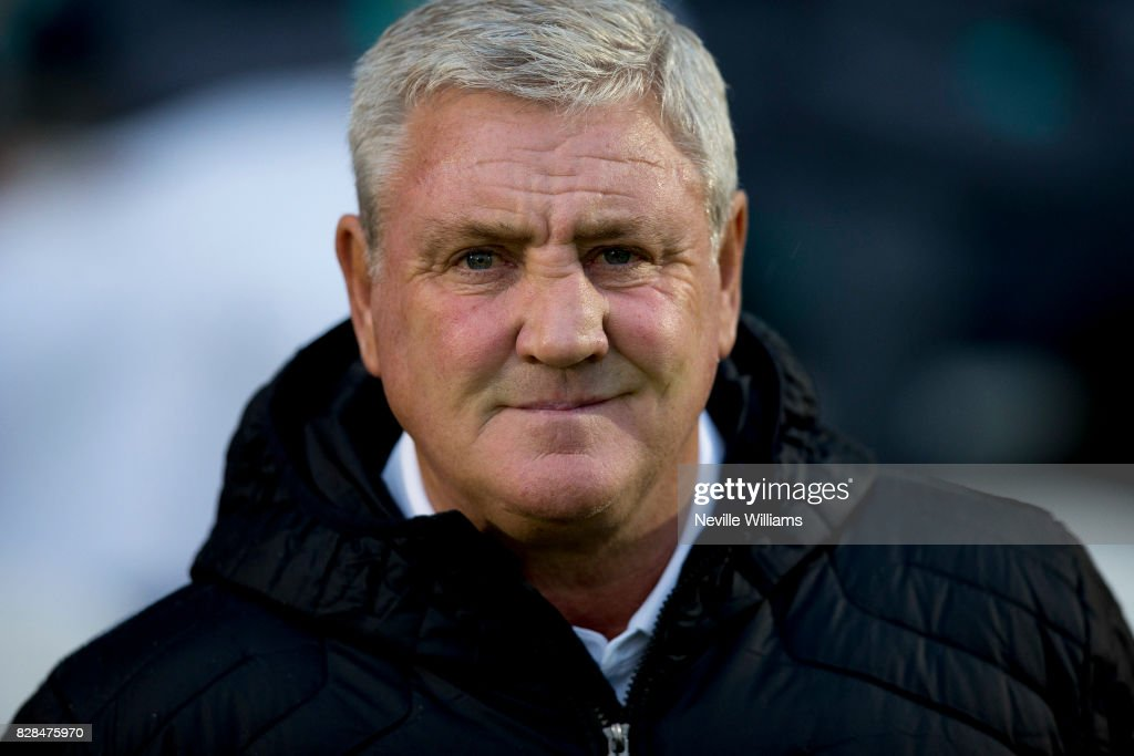 Steve Bruce manager of Aston Villa during the Carabao Cup First Round match between Colchester United and Aston Villa at the Colchester Community Stadium on August 09, 2017 in Colchester, England.