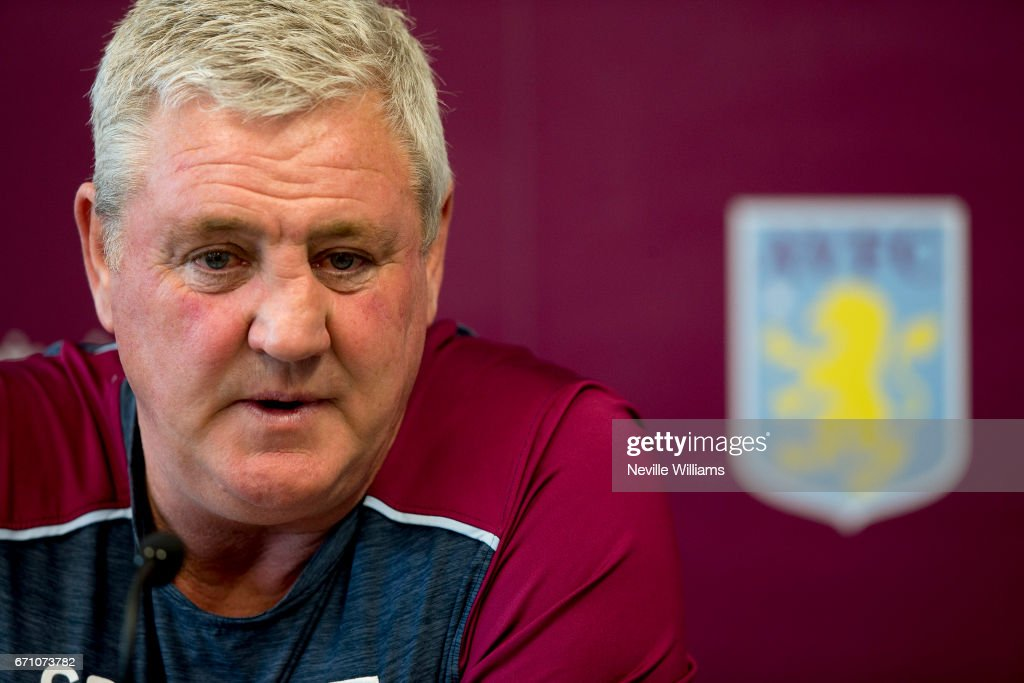 Steve Bruce manager of Aston Villa talks to the press during a press conference at the club's training ground at Bodymoor Heath on April 21, 2017 in Birmingham, England.