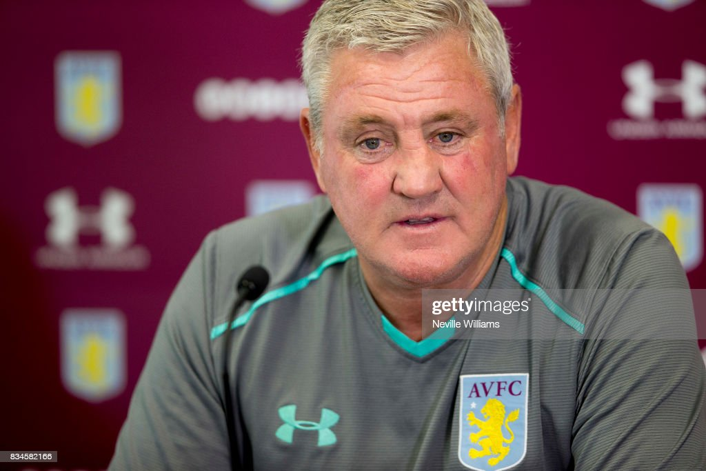 Steve Bruce manager of Aston Villa talks to the press during a press conference at the club's training ground at Bodymoor Heath on August 18, 2017 in Birmingham, England.