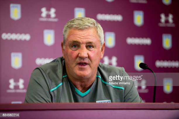 Steve Bruce manager of Aston Villa talks to the press during a press conference at the club's training ground at Bodymoor Heath on August 18 2017 in...