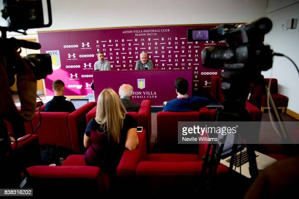 Steve Bruce manager of Aston Villa talks to the press during a press conference at the club's training ground at Bodymoor Heath on August 24 2017 in...