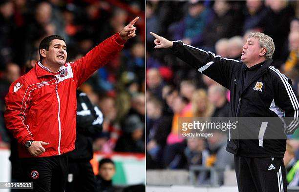 IMAGES Image Numbers 465168533 and 159064930 In this composite image a comparison has been made between Nigel Clough the Manager of Sheffield United...