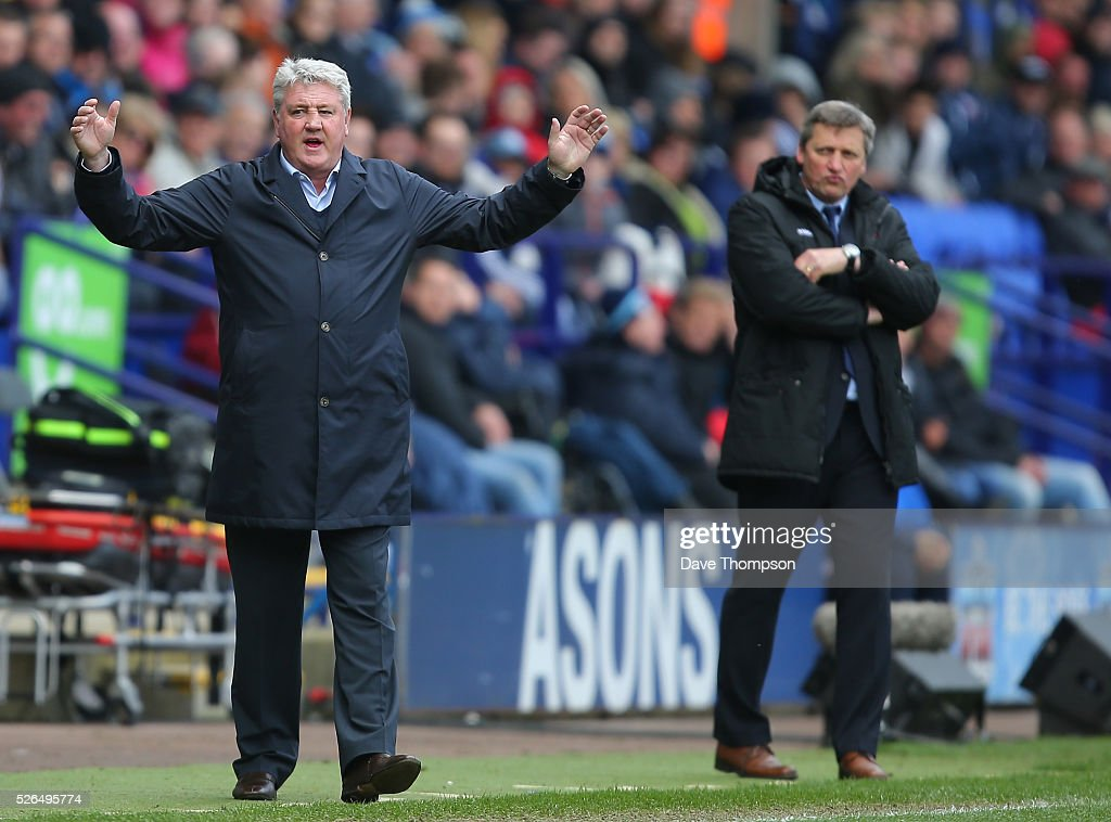 Steve Bruce, manager of Hull City gestures during the Sky Bet Championship match between Bolton Wanderers and Hull City at the Macron Stadium on April 30, 2016 in Bolton, United Kingdom.