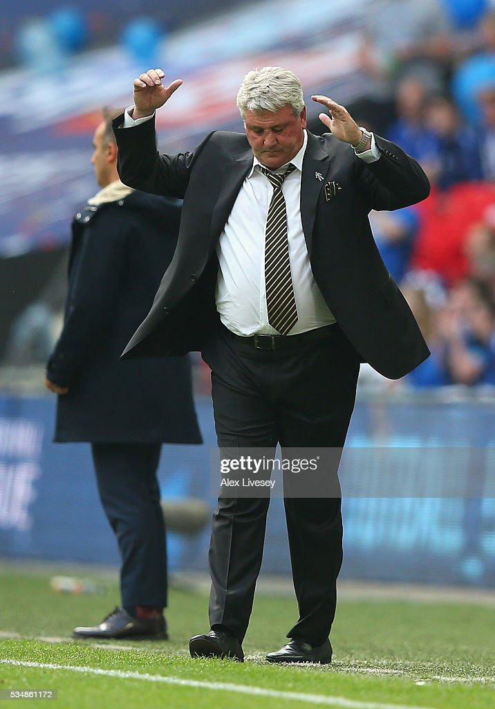 Steve Bruce, manager of Hull City reacts during Sky Bet Championship Play Off Final match between Hull City and Sheffield Wednesday at Wembley Stadium on May 28, 2016 in London, England.