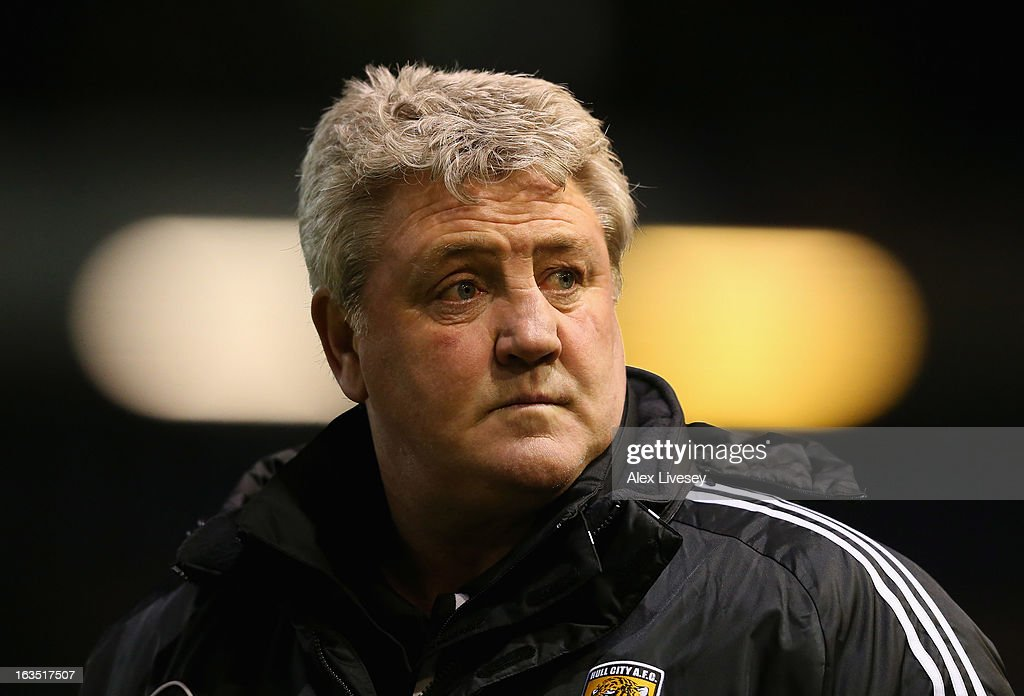 Steve Bruce the manager of Hull City looks on during the npower Championship match between Burnley and Hull City at Turf Moor on March 11, 2013 in Burnley, England.