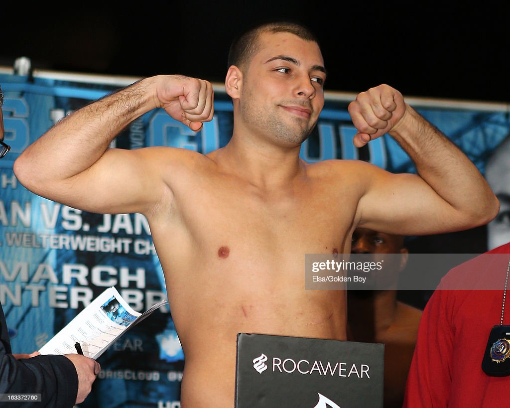 Steve Bujaj stands on the scale during the weigh in on March 8, 2013 at the Barclays Center in the Brooklyn borough of New York City.