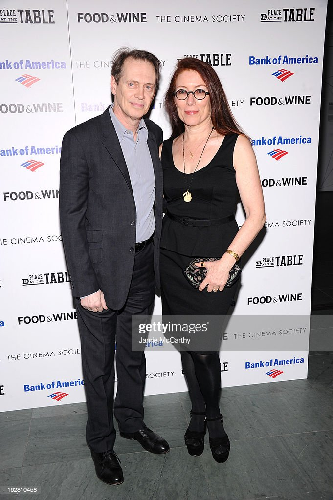 Steve Buscemi and Jo Andres attend Magnolia Pictures And Participant Media With The Cinema Society Present A Screening Of 'A Place At The Table' at MOMA - Celeste Bartos Theater on February 27, 2013 in New York City.