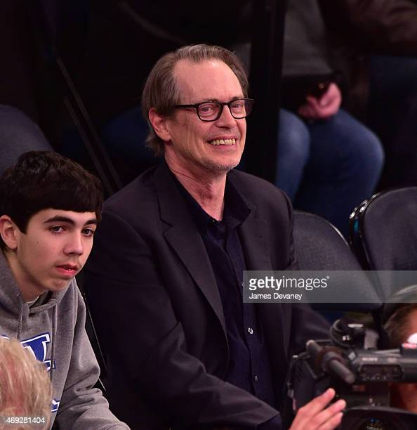 Steve Buscemi attends Milwaukee Bucks vs New York Knicks game at Madison Square Garden on April 10 2015 in New York City