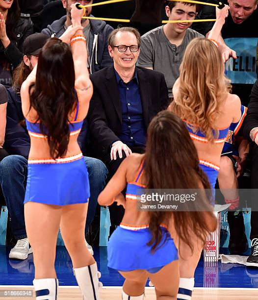 Steve Buscemi attends the Brooklyn Nets vs New York Knicks game at Madison Square Garden on April 1 2016 in New York City