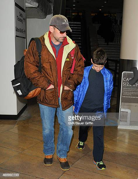 Steve Carell and son John Carell are seen at LAX airport on January 30 2014 in Los Angeles California